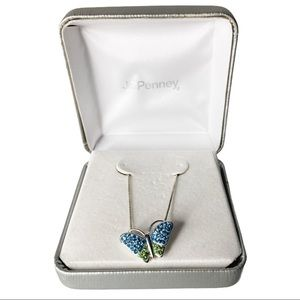 925 Silver Blue & Green Butterfly Pendant Necklace